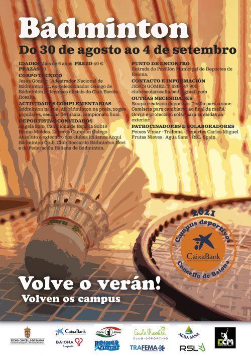 Lee más sobre el artículo Campus Bádminton Concello de Baiona 2021